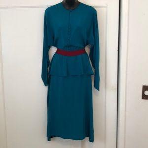 Vintage green silk peplum button up dress
